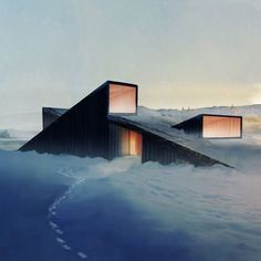 Mountain lodge featuring a sloping roof that you can ski over.