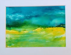 landscape painting Blue and yellow cloud cloudy by AandKartStudio