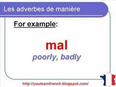 French Lesson 99 - Adverbs of manner - SLOWLY KINDLY etc...Les adverbes de manière