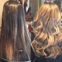 Before and after long hair transformation blonde by Gabriella @salonink