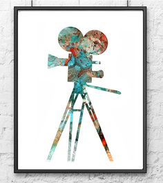 Movie camera retro art print watercolor art wall by Thenobleowl