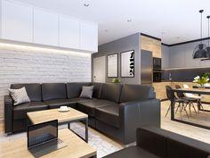 foorni.pl | Projekt: Nefa Architekci #modern #project #dark #colors #blacksofa #whitebrick #nowoczesny #salon #z #aneksem #kuchennym #jadalnia #bialacegla #sciana #czarna #skorzana #kanapa Sofa, Couch, Dark Colors, Outdoor Furniture, Outdoor Decor, Brick, Living Room, Bedroom, Kitchen