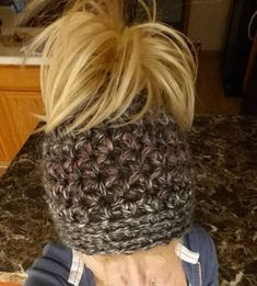 Crochet Chunky Messy Bun Hat with elastic Band by DaintyBouquet