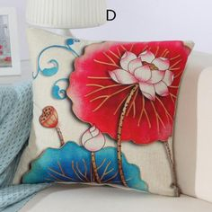 Lotus pillow Chinese style home decoration flower throw pillow 18 inch