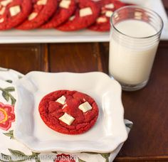 Red Velvet White Chocolate Chunk Cookies.. Great for Christmas