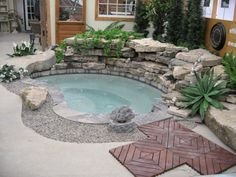 Inground spas for small backyards small pools ideas yard pool spa Hot Tub Backyard, Small Backyard Pools, Backyard Pool Designs, Small Pools, Pool Landscaping, Small Backyards, Pool Spa, Inground Hot Tub, Jacuzzi Outdoor Hot Tubs