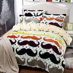 Wholesale Bed In a Bag - Buy Mustache Bedding Comforter Set Twin Full Queen King Size Duvet Cover Quilt Bed Linen Fitted Sheet Bedspread Bedclothes 3 Designs, $116.18   DHgate