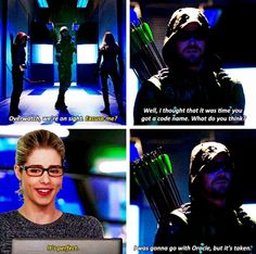 """I thought that it was time you got a code name."" Oliver & Felicity #Olicity #Arrow 4x11"