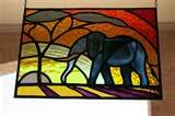 Elephant stained glass