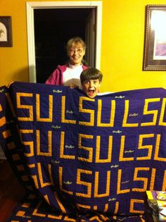 Awesome #LSU quilt made with Crown Royal bags.