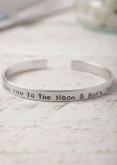 Hand Stamped Aluminium Cuff Bracelet - Love you to the moon and back again -  Lime Lace