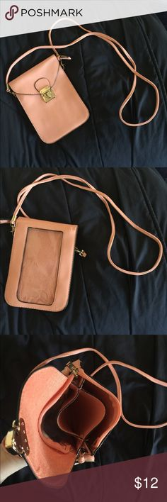 Peach orange bag with phone pocket NWOT small bag, big enough to fit and iPhone plus comfortably. Never used. Bags Crossbody Bags