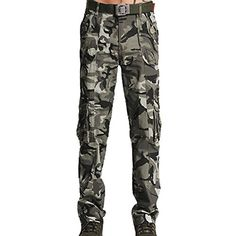 Aubig Mens Military Trousers Cargo Pants Work Wear Camo Jeans Asian Size S * For more information, visit image link.