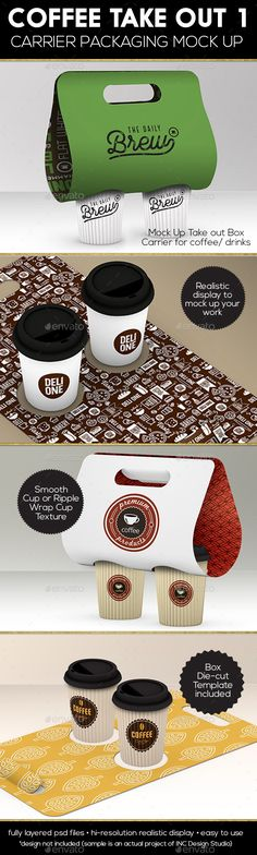 Coffee or Drink Take out Carrier Vol.1 Packaging Mock Up — Transparent PNG #open #texture • Available here → https://graphicriver.net/item/coffee-or-drink-take-out-carrier-vol1-packaging-mock-up/16056610?ref=pxcr