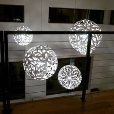 4 David Trubridge FLORAL pendant lights, blooming white at night. Click image for where to buy!