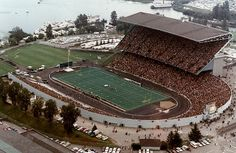 Husky Stadium before the North Stands were constructed in 1987.