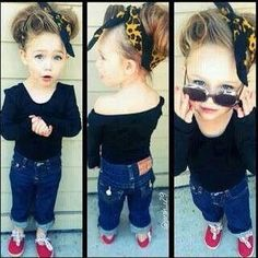 Cute little girl!! bandana, sunglasses, sweater❤️❤️❤️