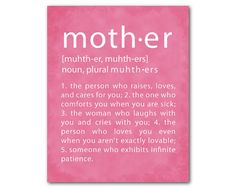 Motheru0027s Day Wall Art Mother Definition - Typography Word Art Print - Gift for Mom - Unique gift for mother - Wall Decor - Present for her  sc 1 st  Pinterest & Typography art poster - My Mother - Motheru0027s Day Gift - Word Art ...