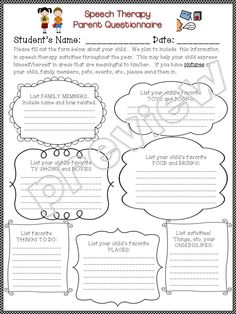 Speech Therapy and Special Ed Teacher PARENT QUESTIONNAIRE to gather information/interests of students esp. those w/ autism, nonverbal, minimally verbal, special needs. #speechtherapy