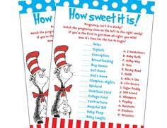 Dr. Seuss Baby Shower Games | Dr Seuss Cat in the Hat Inspired Baby Shower Candy ... | Baby Showers