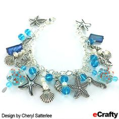 Make this beautiful sea glass, pearls and seashore charm bracelet with just a few supplies from eCrafty.com ~ Supplies list and easy basic instructions here http://wp.me/p1zpgR-Qg #ecrafty #seaglassjewelry #diybracelets #diyjewelry #jewelrysupplies #diycharmbracelet #mermaids #seaglass #charms