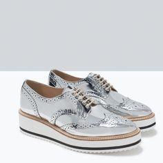 BLUCHER METALIZADO PLATAFORMA-Sapatos rasos-Sapatos-MULHER | ZARA Portugal