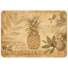 Beachcrest Home Jaidyn Pineapple Coast Kitchen Mat Rug Size: Rectangle x Coastal Style, Coastal Decor, Pineapple Kitchen, Hamptons Decor, Kitchen Mat, Interior Design Tips, Bungalow, Vintage World Maps, Flooring
