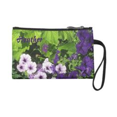 Purple Petunias Clutch Wristlet bags ($44) ❤ liked on Polyvore featuring bags, handbags, clutches, purple handbags, wristlet clutches, purple clutches, green purse and purple wristlet