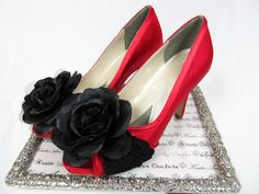 Midnight Rose Wedding Shoes by Kristie Ann Couture $169.95; #coutureheels #redhighheels #eveningshoes