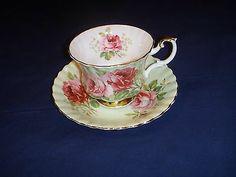 Royal Albert Roses Tea Cup Saucer Set Porcelain England Soft Green | eBay