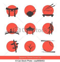 Japanese theme icons set - elements for your logo design - stock vector Japanese Theme, Japanese Icon, Japanese Culture, Japanese Art, Japan Design, Japanese Restaurant Design, Restaurant Logo Design, Japan Logo, Logo Sushi