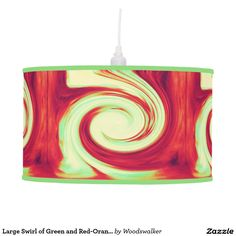 Large Swirl of Green and Red-Orange Hanging Lamp Designed by Woodswalker on Zazzle.