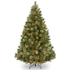 7.5-ft. Pre-Lit Wispy Willow Grande Artificial Christmas Tree (Green) ($512) ❤ liked on Polyvore featuring home, home decor, holiday decorations, green, holiday home decor, holiday decor and green home decor