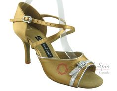 Natural Spin Signature Latin Shoes(Open Toe):  H1160-02_GoldES