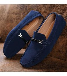 Men's #blue leather slip on shoe #loafers twin rope style buckle on vamp, sewing thread design, ornament, casual, work office occasions.