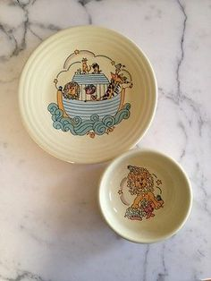 Vintage Homer Laughlin China Co. Fiesta Child Size Plate And Bowl Set Noah's Ark