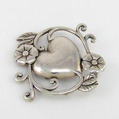 Vintage JEZLAINE Art Nouveau Sterling Silver Heart Pin