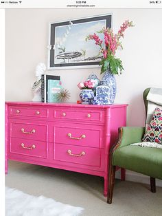 I like the style of this piece of furniture and the pop of color, not sure where I'd put it! :)