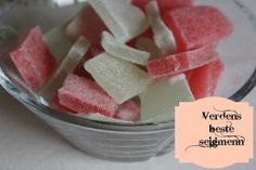 Husfrøy: Hjemmelagde seigmenn Fermented Foods, Canning Recipes, Watermelon, Healthy Snacks, Icing, Fruit, Vegetables, Desserts, Gift