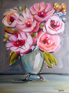 Abstract Peonies Flowers canvas original pink by Marendevineart