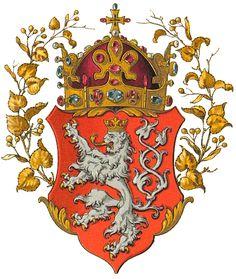 Wappen des Königreichs Böhmen (Coat of arms of the Kingdom of Bohemia)… Kingdom Of Bohemia, Central And Eastern Europe, Holy Roman Empire, Family Crest, Crests, Gravure, Coat Of Arms, Czech Republic, Illustration