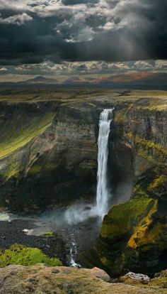 Haifoss Waterfall, Iceland. Said to be Iceland's 2nd highest waterfall, nestled within a deep and rugged gorge in the desolate Þjórsárdalur Valley