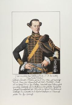 Plate 130. Husaren-Regiment No.8,                   Erste Uniform Von 1758-                   1764,                   Portrait of Blucher