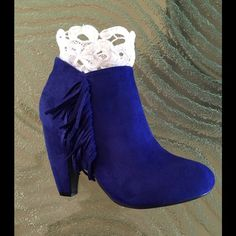 FLASH SALEBlue vegan suede booties!  Wonderful suede booties! Create a memorable outfit !   ❤️ Trades,  Offers  PayPal, Message me the size you'd like and I'll create a listing that I tag for you... Bundle with the fabulous kimono from my closet for a great buy  And savings  Boutique Shoes Ankle Boots & Booties