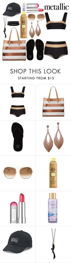 """You're Golden: Metallic Swimwear"" by basmahahmed ❤ liked on Polyvore featuring ADRIANA DEGREAS, Neiman Marcus, Reef, Chloé, Sun Bum, Clinique, Victoria's Secret, SO, Monica Rich Kosann and Spring Street"