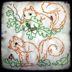 playful squirrel embroidery...an aunt martha pattern I think... by isewcute, via Flickr