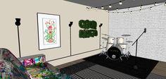Estúdio de gravação. A sobreposição de tapetes estampados é cool e auxilia na acústica do espaço.