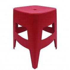 "Eurøstyle polypropylene stacking stool ""Coda"" in blue, green, grey, orange, red, and white MSRP $75"
