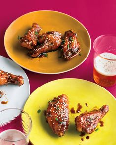 Fresh ginger and garlic add a kick to the sticky-sweet soy sauce and honey glaze for these baked wings. Finish with toasted sesame seeds and fresh chives.