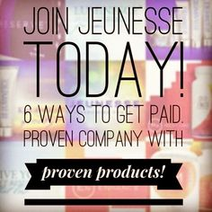 Join me in this amazing opportunity with an incredible company and scientifically-proven products.  I have almost 600 people on my team in three months.  THAT is how awesome Jeunesse Global is! You will thank yourself in less than one week!   beckywisener.jeunesseglobal.com